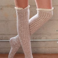 Over the Knee Socks - Natural