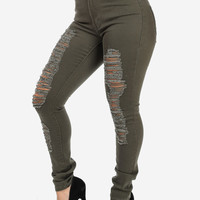 Olive High Waisted Distressed Skinny Jeans
