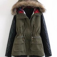 New Army Green Pockets Drawstring Faux Fur Leather Plaid Hooded Casual Fatigue Parka Coat