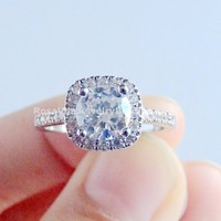 1.5ct Cushion Cut Cubic Zirconia Diamond Ring