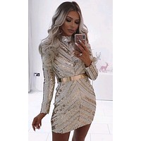 Heart Breaker White Gold Sequin Chevron Stripe Pattern Long Sleeve Mock Neck Bandage Bodycon Mini Dress - Sold Out