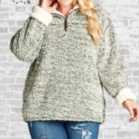 Faux Fur Sherpa Pullover - Olive