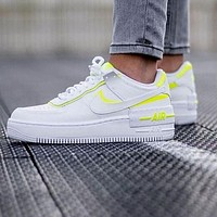 Nike Air Force 1 Shadow Fashion Women Casual Sport Running Shoes Sneakers White&Fluorescent Green