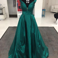 Off Shoulder A-Line Satin Prom Dresses