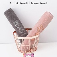 100% Cotton Baby Pink & Gray Face Towel | BEAST BEAUTY Towel