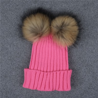 Candy Color Female Caps Winter Warm Two Ball Cute Beanies Crochet Knit Beanie Hats High Quality Faux Fur Women Thick Caps Pink
