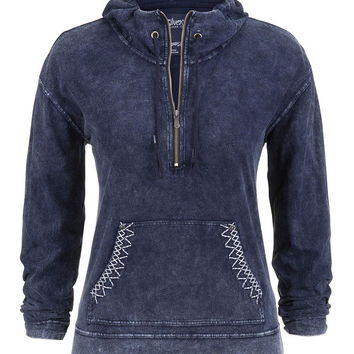 Silver Jeans ® Half Zip Hooded Pullover - Navy