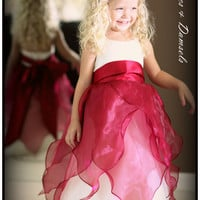 Flower girl dress, ivory with organza sheer raspberry wine red colored overlay, satin sash, with rush fee