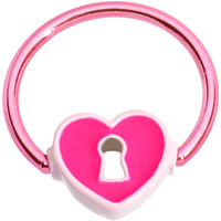 "16 Gauge 1/2"" Pink Anodized Titanium Heart Lock BCR Captive Ring 