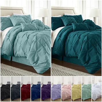 Modern Pinch Pleat Pintuck Bedding Comforter - 7 Piece Set