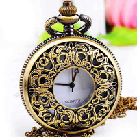 Pocket Watch Victorian Style Necklace Locket Pendant Chain (PWAT0101)