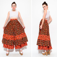 60s Floral Calico High Waist Ruffle Tiered Palazzo Pants - 1960s Wide Leg Bell Bottom Boho Hippie Maxi Skirt Trouser Pants S SMALL 6