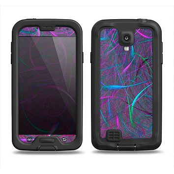 The Purple and Blue Electric Swirels Samsung Galaxy S4 LifeProof Fre Case Skin Set