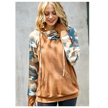 Crazy Cute Double Cowl Neck 2 Tone Camouflage Hoodie