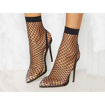 Fashion mesh hollowed-out pointed thin super high heel sandals