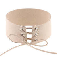 'Exclusive' Suede Lace-Up Choker - Nude