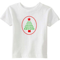 Christmas Onesuit or Kid's T-Shirt -- Christmas Tree Personalized with Boys or Girls Name in 2 Colors, Red and Green