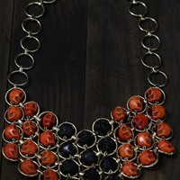 Skull Bib Necklace Halloween Orange Black Day of the Dead Dia de Los Muertos Gold Circle Hoops