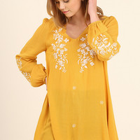 Honey Embroidered Tunic Top