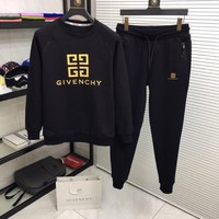 Givenchy Men and Women Fashion  Black Leisure Tracksuit Two Piece Suit Set