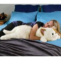 Super-Soft Cuddly Cat Body Pillow, in Whiteand Brown