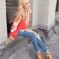Beauty in Lace Tunic Dark Coral