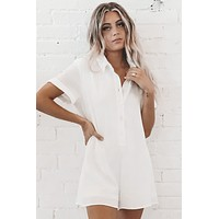 Down To Play White Button Down Romper