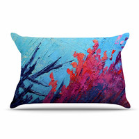 """Carol Schiff """"Coral Reef"""" Coral Teal Painting Pillow Sham"""