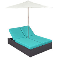 Convene Outdoor Patio Chaise with Umbrella in Espresso Turquoise