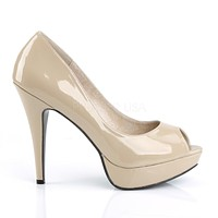 "Chloe 01 Open Toe Heels Cream Patent - 5.25"" Pumps"