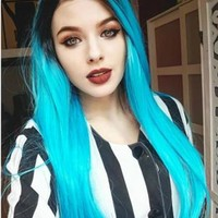 Magical Electric Blue Long Straight Synthetic Lace Front Wig