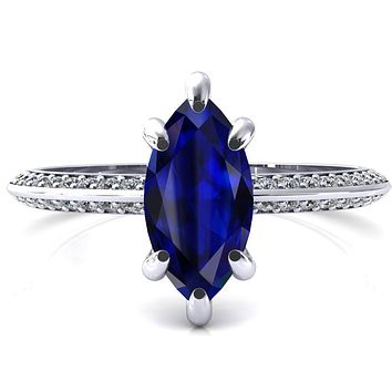 Nancy Marquise Blue Sapphire 6 Prong 1/2 Eternity Diamond Knife Shank Accent Engagement Ring