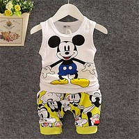 BibiCola  New Cartoon Summer Baby Boy Clothing Set Tank Top + Shorts Kid Boy Summer Set Children Boy Clothes Set Sleeveless