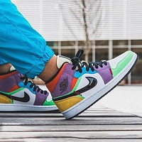 AJ1 Air Jordan 1 Low colorful stitching low-top basketball shoes