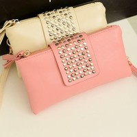 Leather Rivet Handbag/Wallet/Clutch Purse