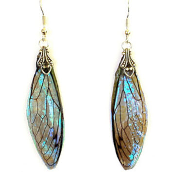 NEW - Fairy Wing Earrings - Fairy Wing - Fairy Wings Earrings - Fairy Earrings - Wing Earrings - Real Cicada Wings - OOAK - Sapphire Shimmer