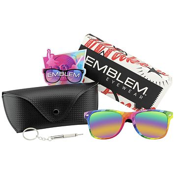 Horned Rim Retro 80s Party Festival Rainbow Mirrored Sunglasses w/ CASE