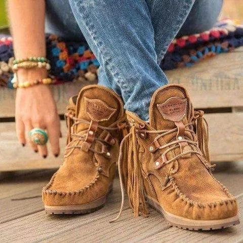 Image of Women's Tassel Lace Up Ankle Boots