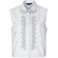 TOPSHOP Cotton Embroidered Shirt