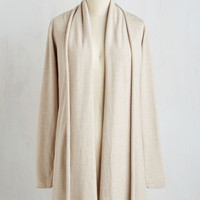 Minimal Long Long Sleeve Comfy My Way Cardigan in Oatmeal by ModCloth