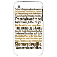 Hunger Games Quotes iPhone 3G Hard Case on CafePress.com