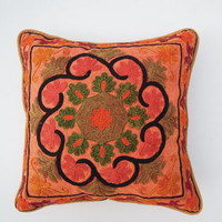 "Floral Suzani Embroidered Cushion Cover with Pom Pom, Lace Cushions,Pillow Cover, Decorative Suzani pillow Throw Suzani Cushion 16""X16"""