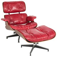 Iconic Rosewood and Red Leather Eames Lounge Chair and Ottoman