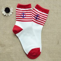 FunShop Woman's Stripes and Anchor Pattern Cotton Ankel Socks in 2 Colors Red D1117