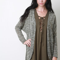 Melange Knit Dolman Long Sleeve Cardigan