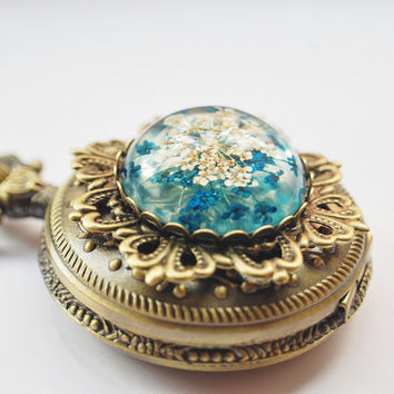 Real Flower Pocket Watch Resin Necklace Blue Vintage Victorian Steampunk Pressed Flower Specimen