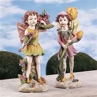 SheilaShrubs.com: Fairies of the Meadow Garden Statues (Set of 2) EU95061 by Design Toscano: Garden Sculptures & Statues