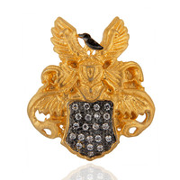 Women Party Jewelry Pave Set Round Cubic Zircon Yellow Gold Plated UK Sign Ring