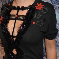 Small, Goth, S&M, Sexy Ugly Christmas Sweater, one of a kind, black, sexy, ugly xmas sweater, woman's, steam punk, halloween
