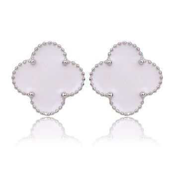 Beady Cleef Single Stud - Silver & White